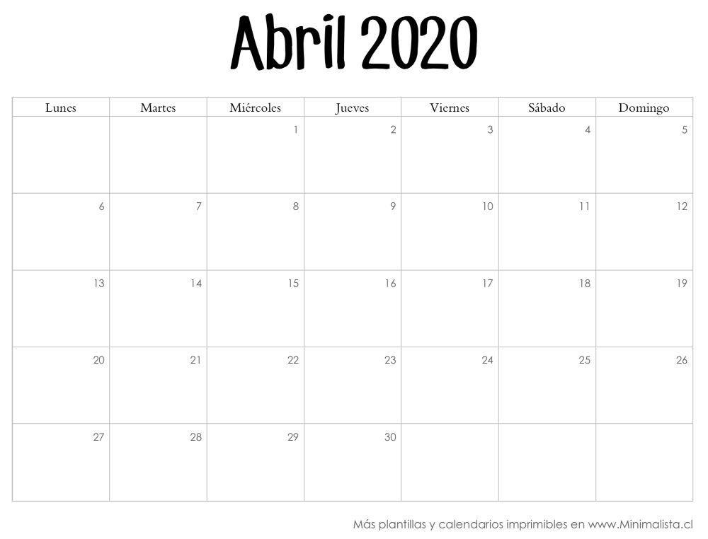 Calendario Abril 2020 Calendario Calendario Para Imprimir Gratis Calendarios Mensuales