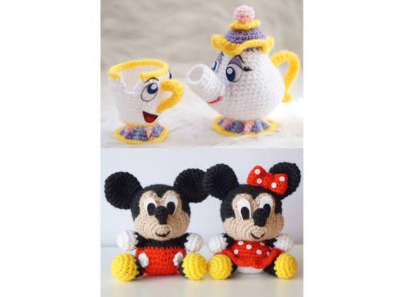 Amigurumis Personajes De Disney : Amigurumi disney mickey mouse minney mouse chip por amigurumeria