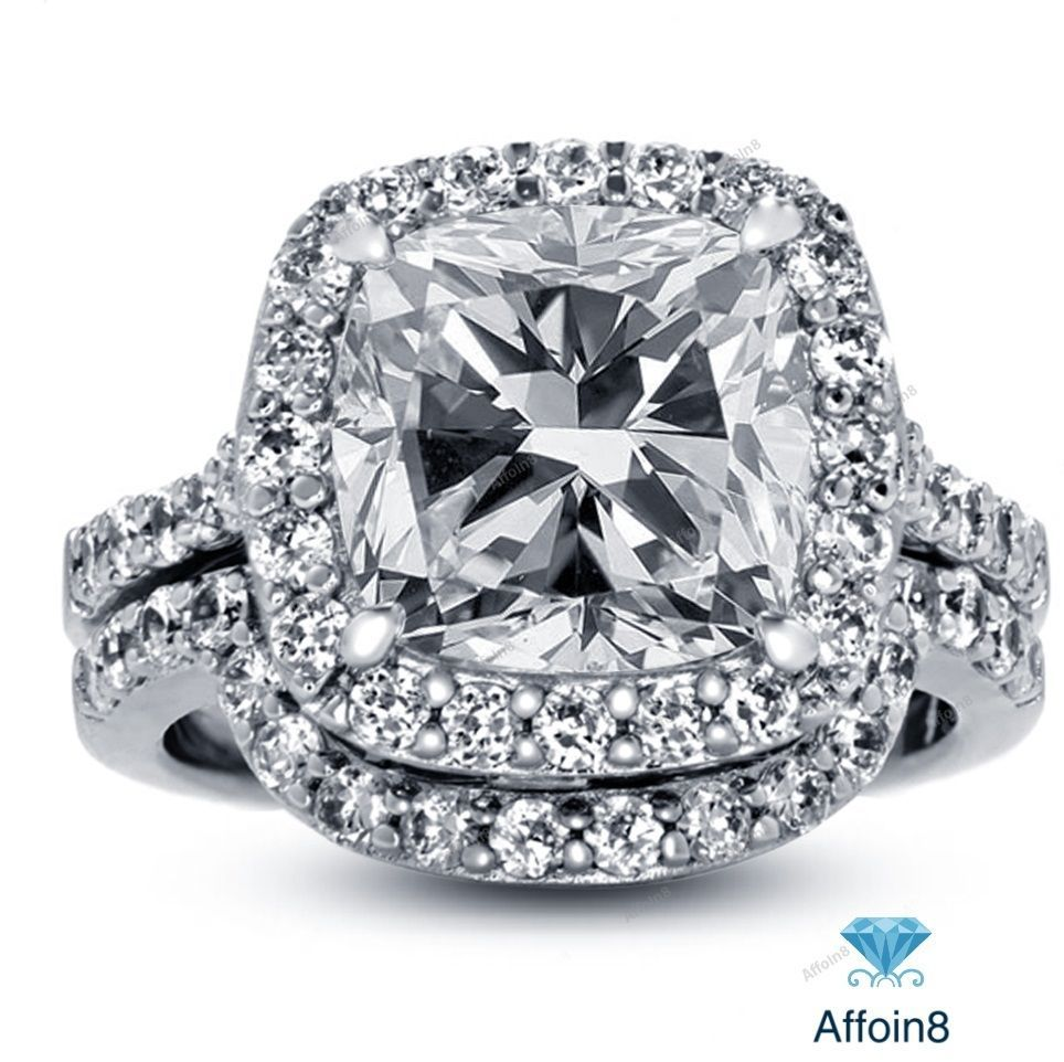 Ring  C B Ct Surface Prong Cushion Cut Diamond With Shadow Style Band Bridal Ring Set