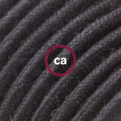 Cotton Fabric Covered Round Electrical Flex RC04 Black Kitchen - Couleur Des Fils Electrique