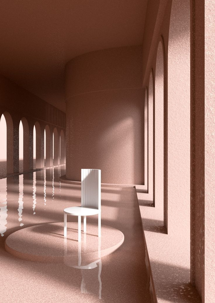 Alexis Christodoulou creates 3D-rendered, desaturated, pastel worlds full of reflective pools, strong shapes, and the best kind of shadow-making light.