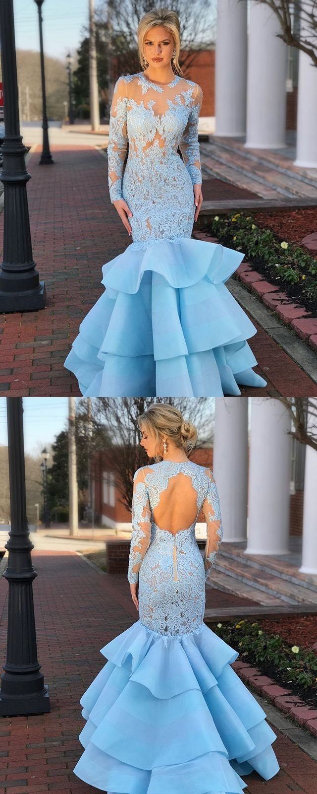 Blue lace long sleeve prom dress memraid openback tulle prom dress
