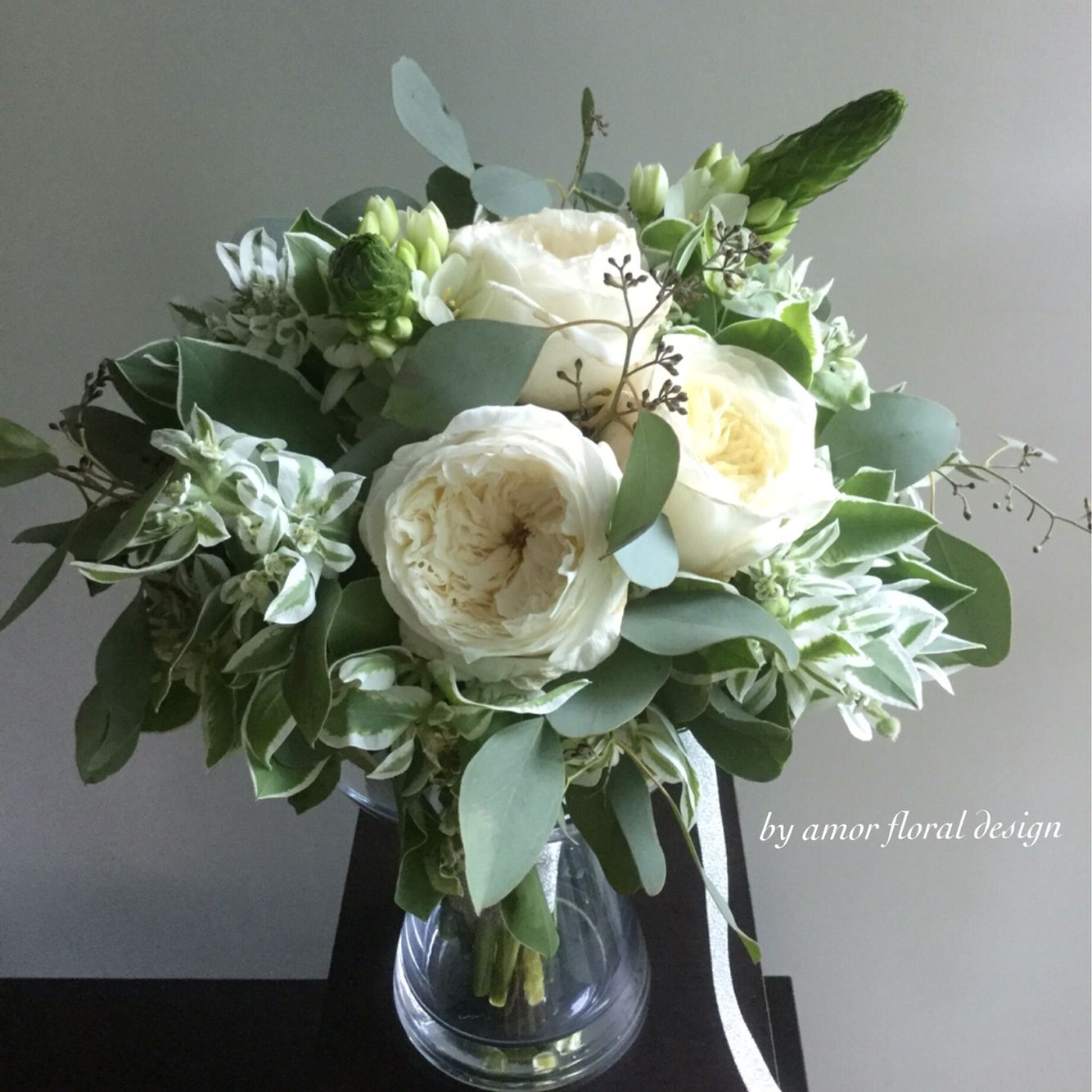 Garden Rose Hand Tied Bouquet Green White Colour Combination By