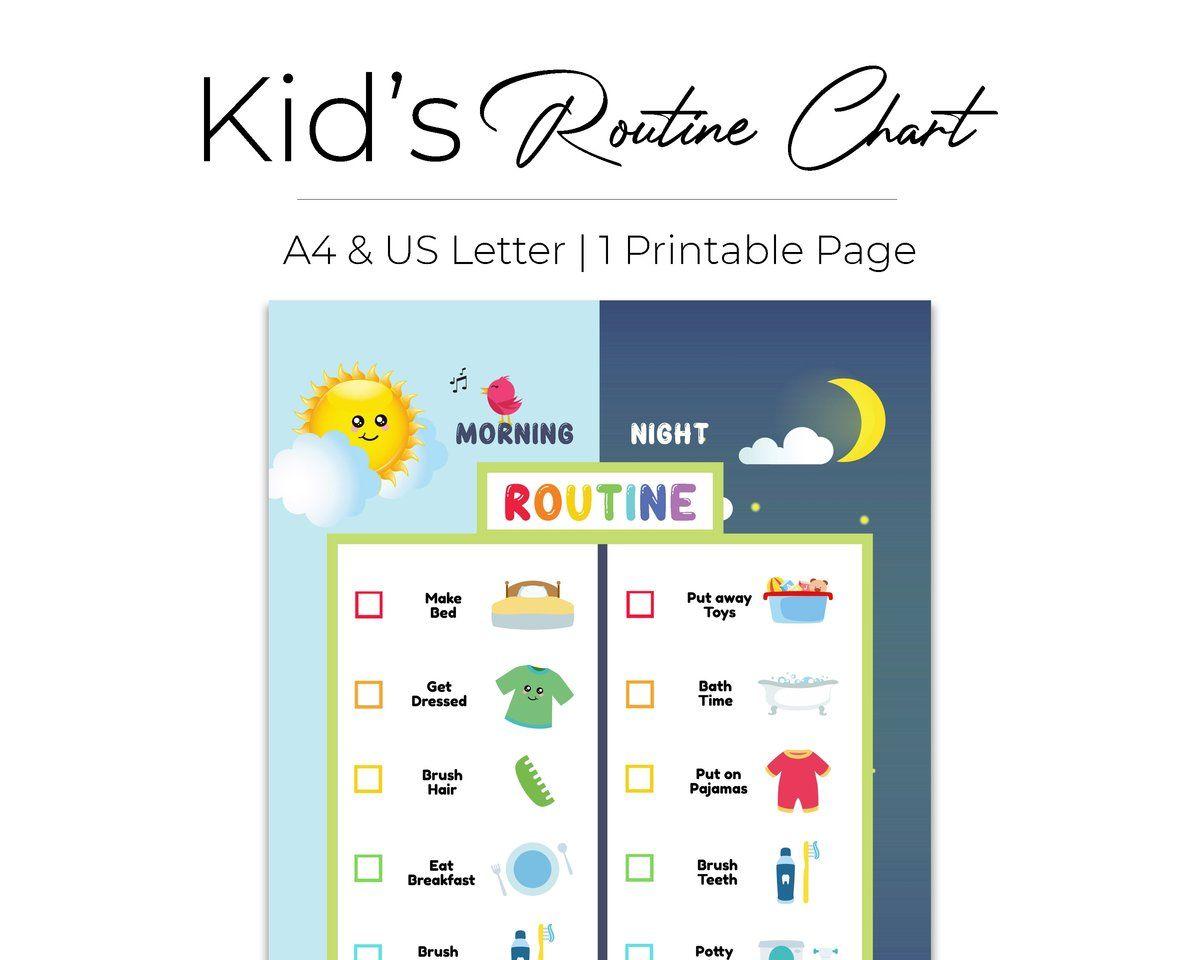 Editable Kid Morning Bedtime Routine Chart
