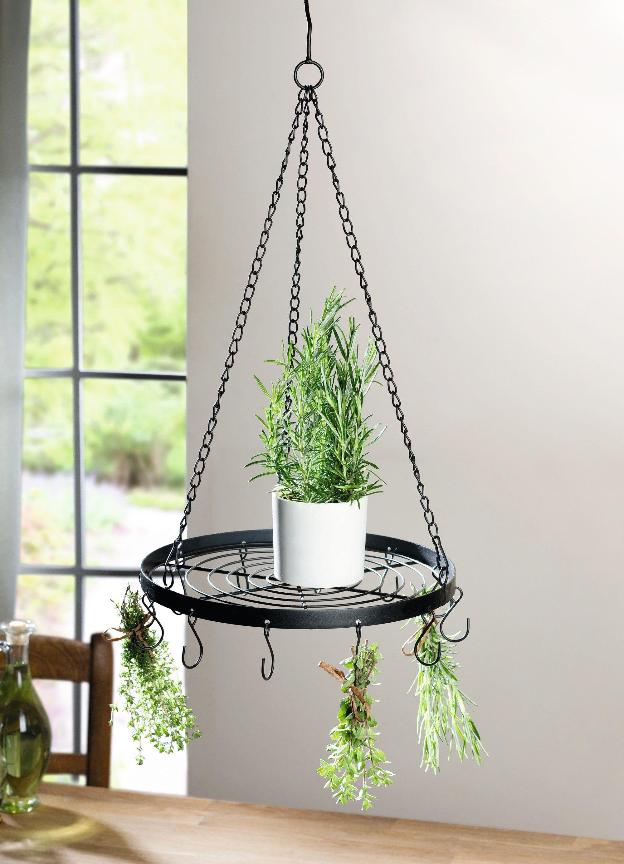metall h nger kr uterkrone matt schwarz lackiert 12 haken ordnen die k chenutensilien runde. Black Bedroom Furniture Sets. Home Design Ideas