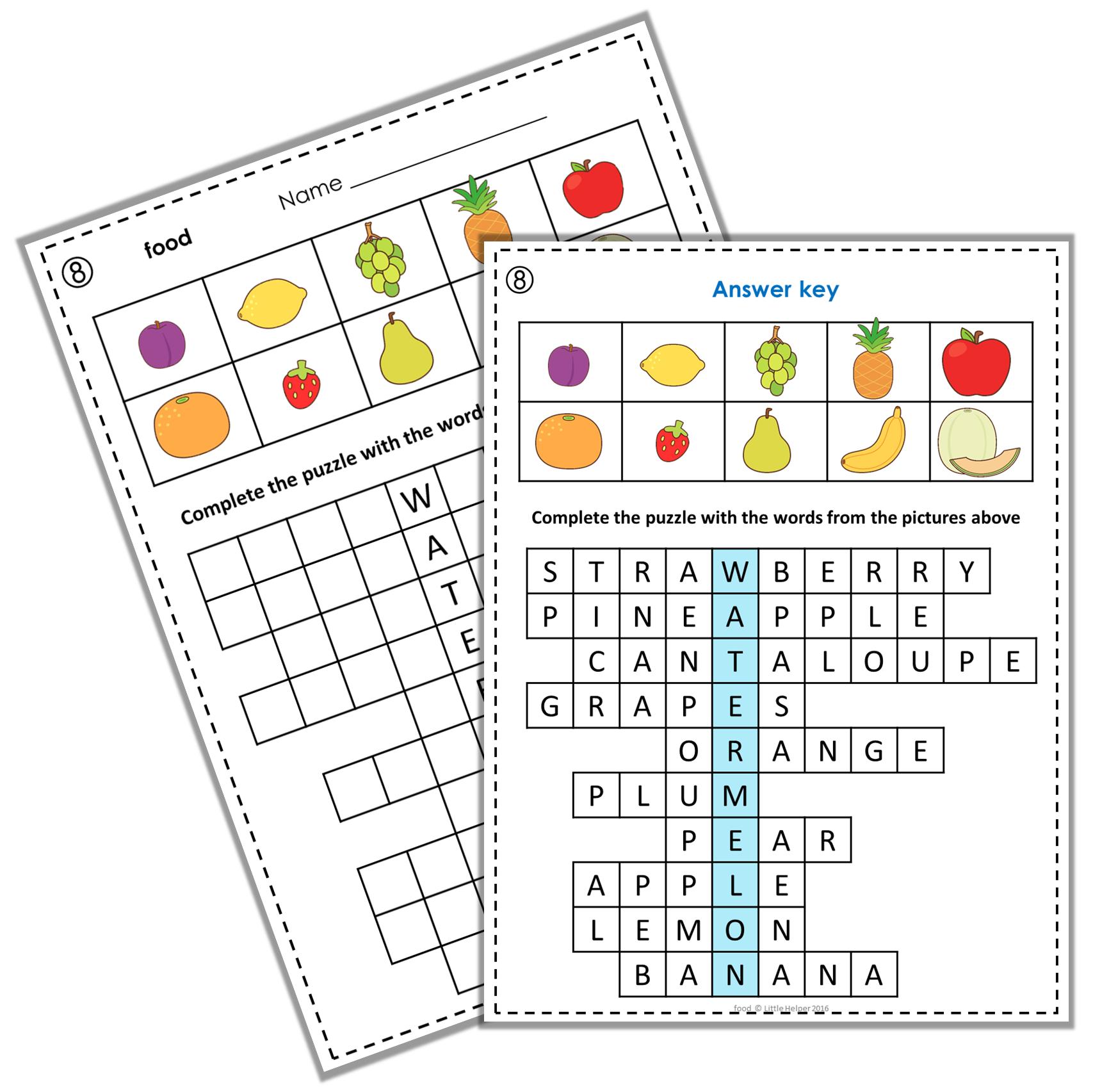Esl Vocabulary Puzzles Food Amp Meals