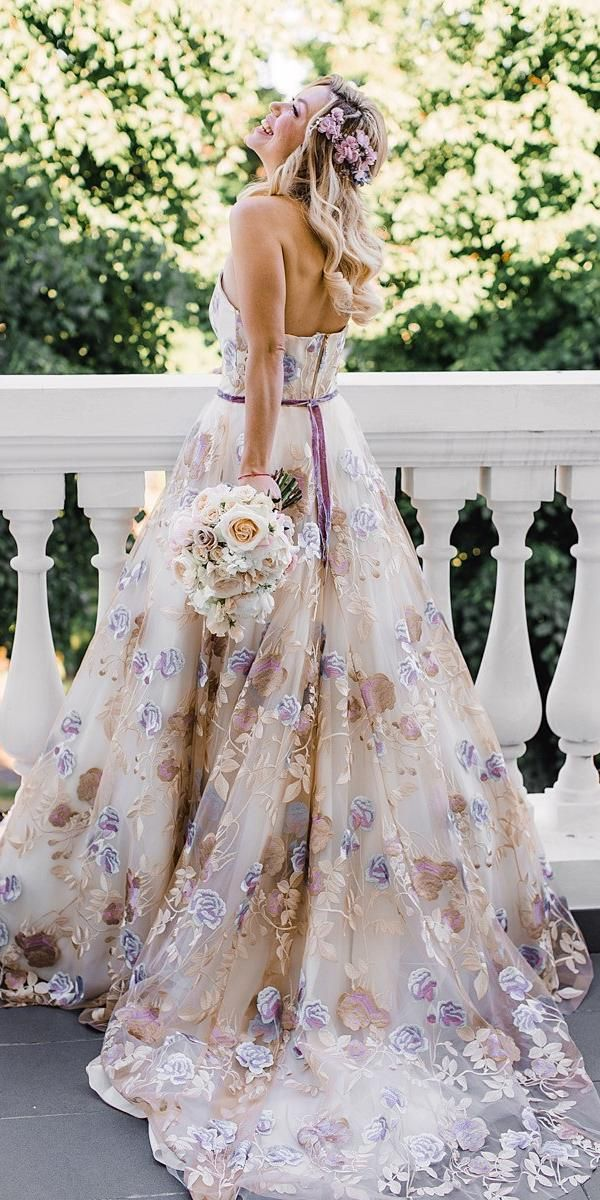 36 Pretty Floral Wedding Dresses For Brides Wedding Forward Floral Wedding Dress Colored Wedding Dresses Emerald Bridesmaid Dresses