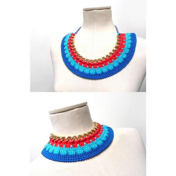 Crochet Cotton and Chain Necklace Choker Color Block Statement... ($31) ❤ liked on Polyvore featuring jewelry, necklaces, red necklace, gold choker, gold choker necklace, red turquoise necklace and turquoise choker necklace