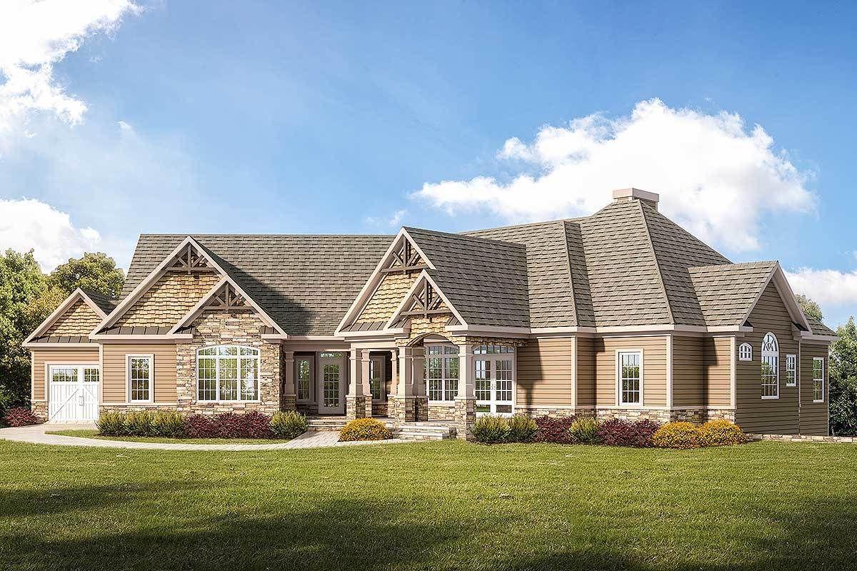 Craftsman Ranch Home Plan with 3Car Garage Craftsman
