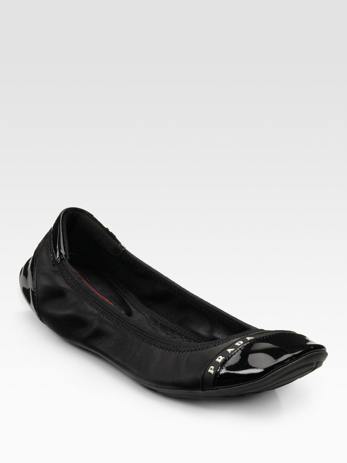 ae82ea458f Women's Black Scrunch Ballet Flats | Flats! | Ballet flats, Flats, Prada