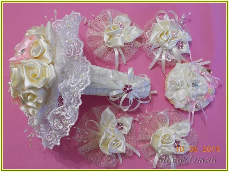 букет для свадьбы из атласных лент 82e95854cbc