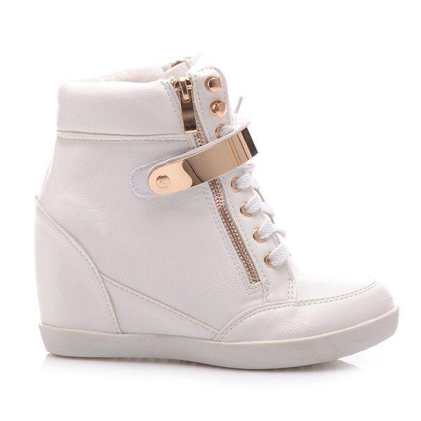 Sneakersy Na Koturnie Fi 20w S3 8p Bialy Czasnabuty Pl Buty I Torebki Boots Wedge Sneaker Shoes