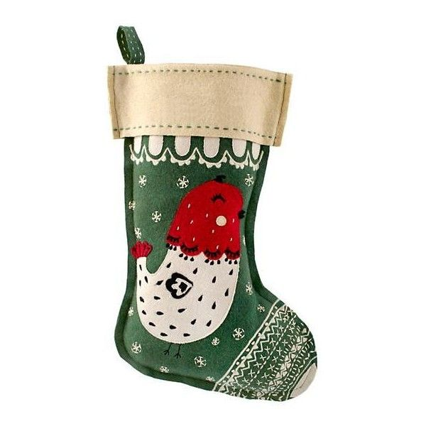 Holly Jolly Stocking (Bird) ($32) ❤ liked on Polyvore featuring - christmas home decor