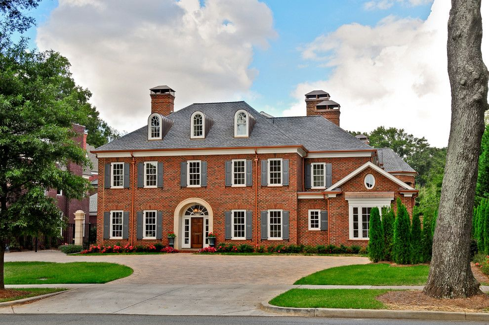 Copper Gutters Exterior Traditional With Brick Colonial Exterior Grand Landscape Landscaping Mansion Red Brick House Colonial Exterior Brick Exterior House