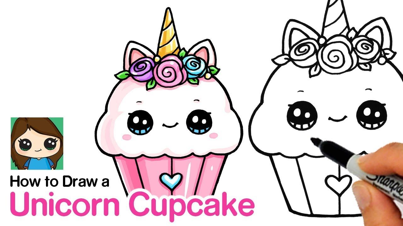 How To Draw A Unicorn Cupcake This Great Idea Was Featured Today At Cuteeverything Com Unicorn Drawing Cute Drawings Cupcake Drawing