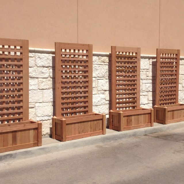Wonderful Custom Redwood Planters With Trellis Side Of Porch Or One In Back