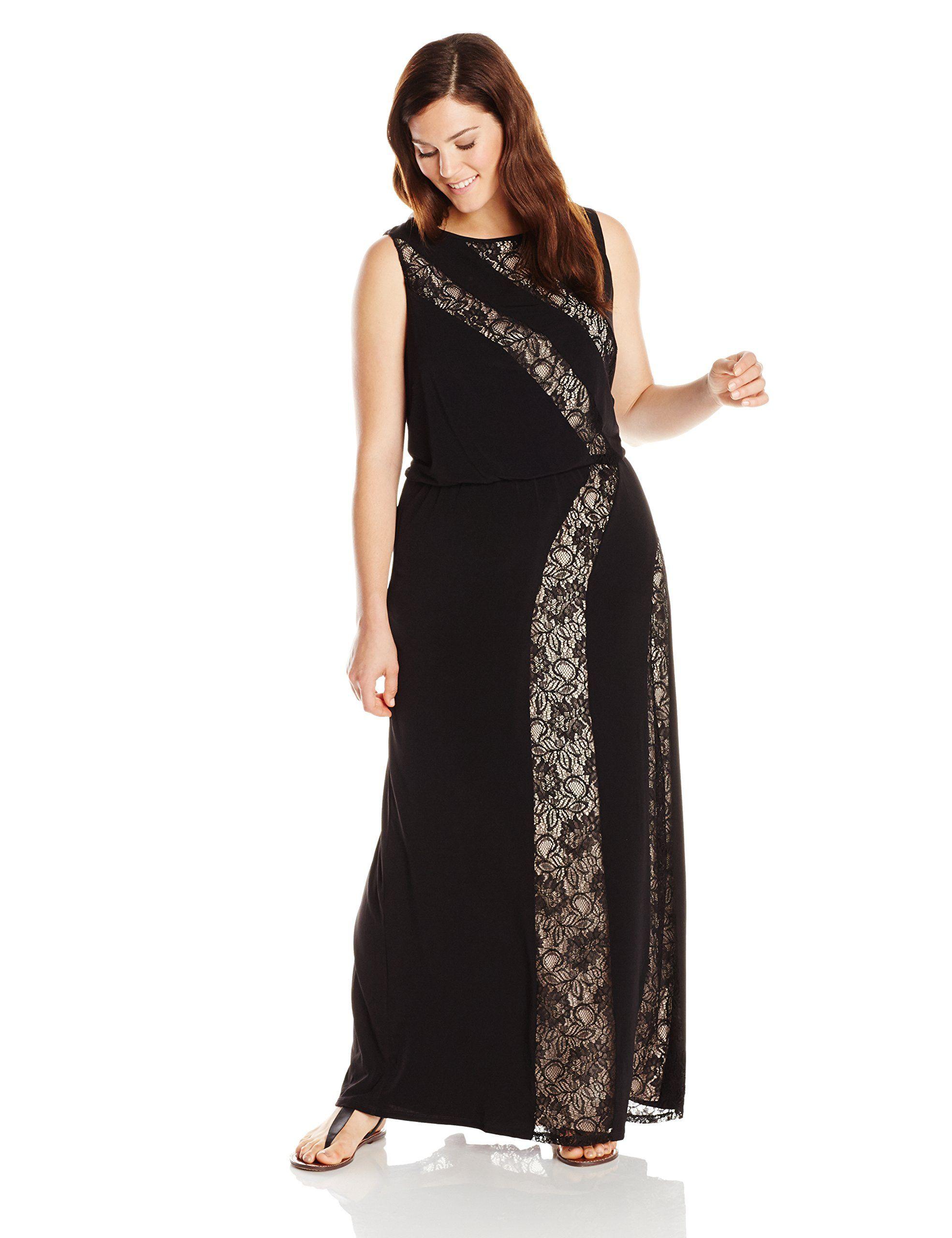 ac3306d688 London Times Women's Plus-Size Sleeveless Lace Maxi Dress at Amazon Women's  Clothing store: