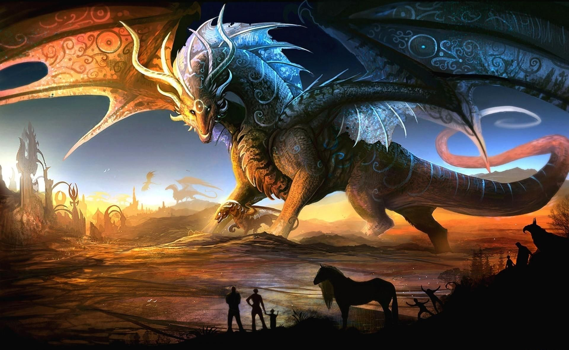 Free Dragon Wallpaper Hd Mythical Creatures Fantasy Dragon Desert Art