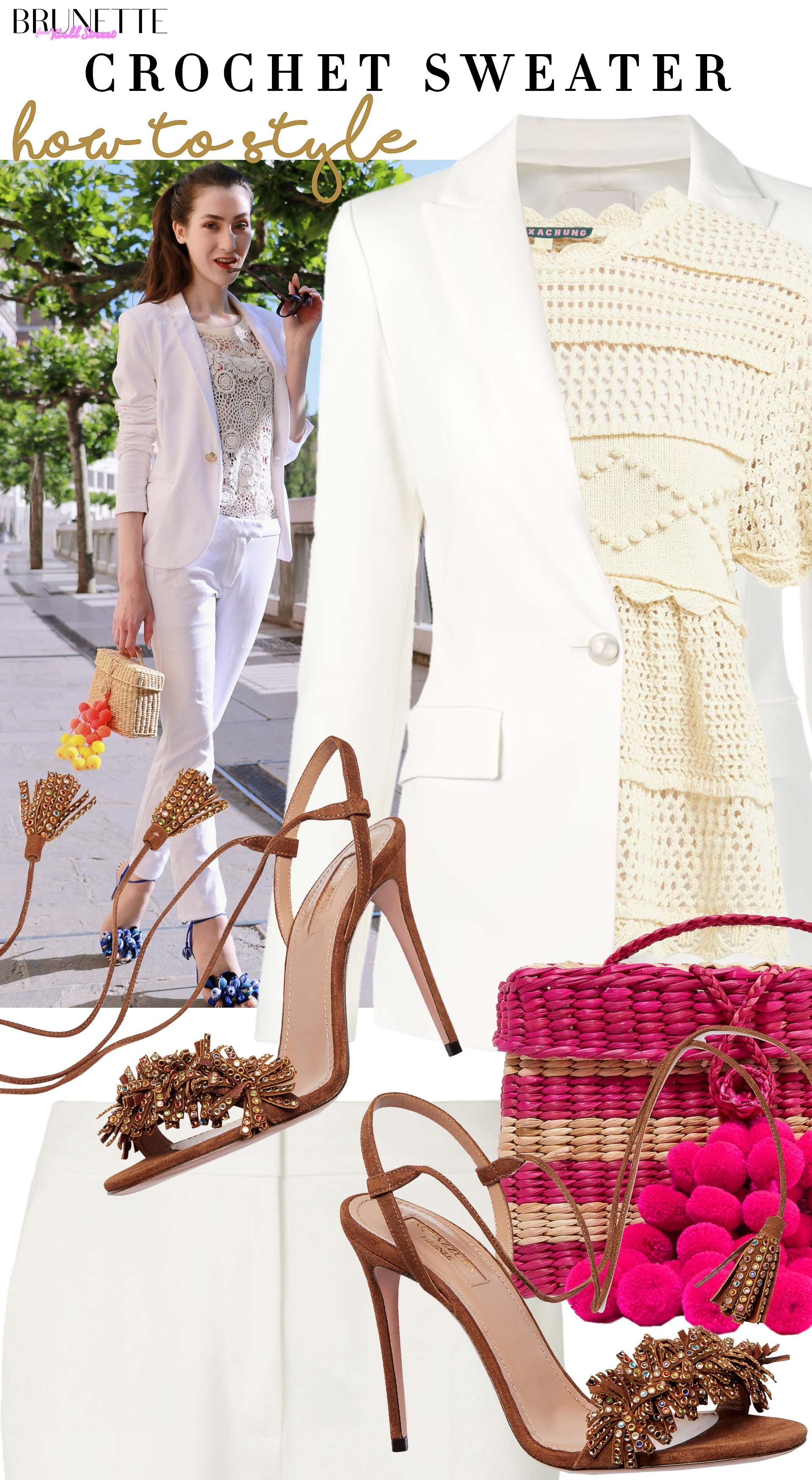 Don't know how to Dress Up a Sweater for Work? Problem solved! #whitepantsuit Brunette from Wall Street how to dress up sweater white pantsuit aquazzura sandals nannacay bag #workattire #beige #officelook #whitepantsuit