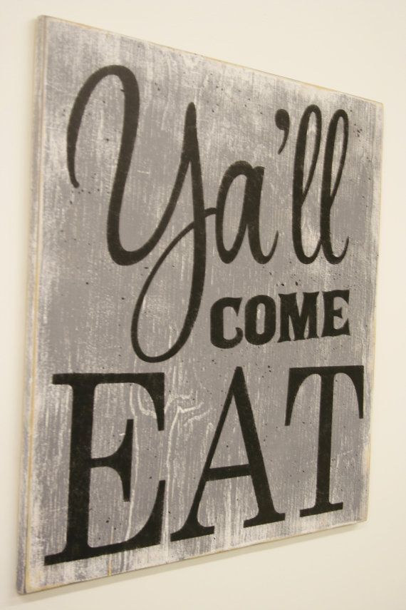 Yall Come Eat Wood Sign Kitchen Dining Room Vintage Wall Decor Farmhouse Housewarming Gift Wedding Southern