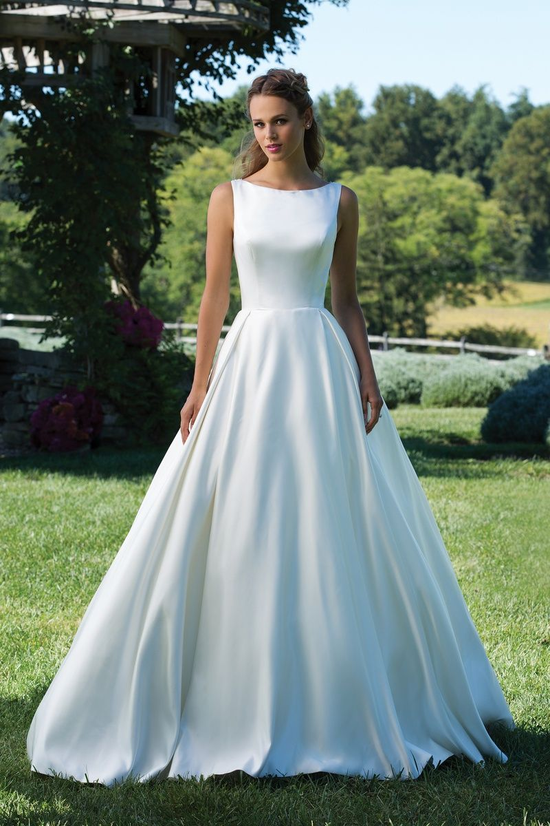 Style 3987: Matte Satin Ball Gown with Box Pleat Skirt and Sabrina ...