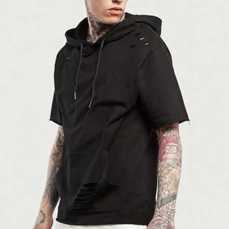 30f456c3c1e0 Hip hop ripped hoodie with holes for men short sleeve hoodies pullover