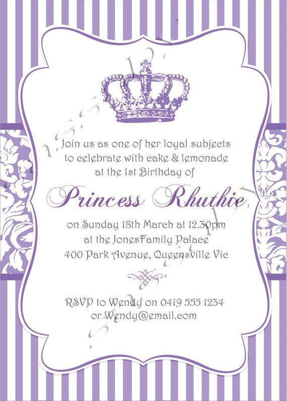 Princess Purple Party Invitation - INSTANT DOWNLOAD - Editable