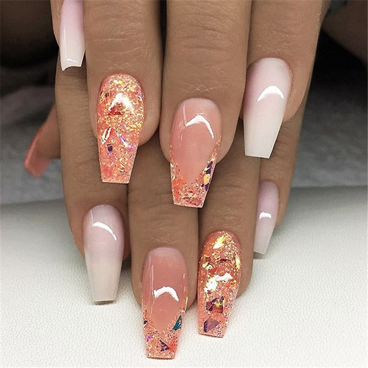 Ombre Acrylic Nails Acrylic Nail Ideas Pink Glitter Coffin Nails