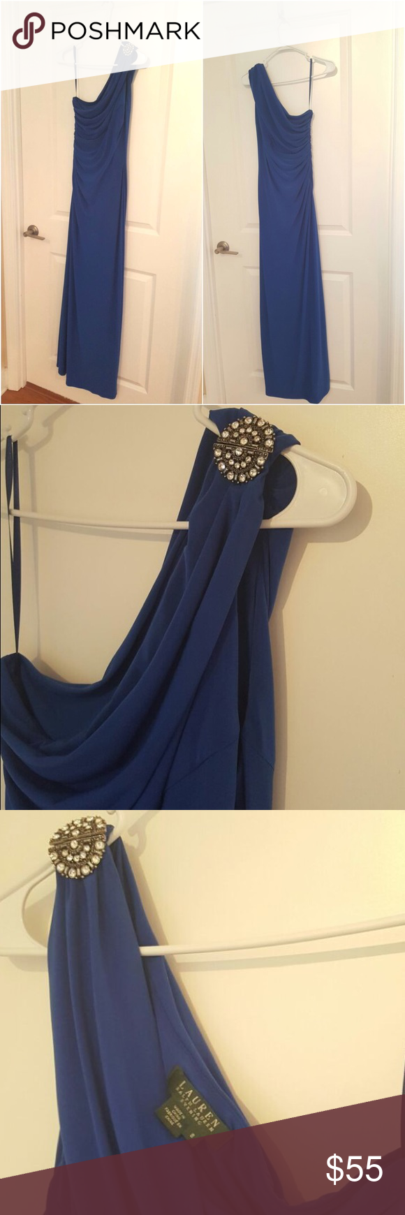 Ralph Lauren evening dress Off the shoulder embellished blue dress. I wore this once to my friends wedding. Fits so beautifully! Ralph Lauren Dresses One Shoulder