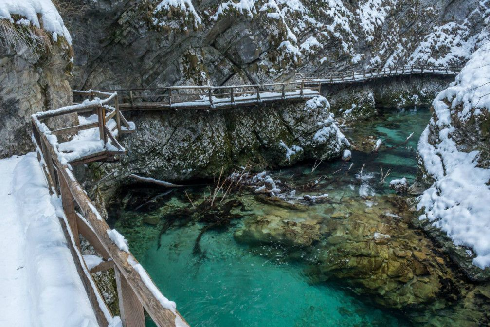 Vintgar Gorge near Bled looks beautiful on a snowy winter day