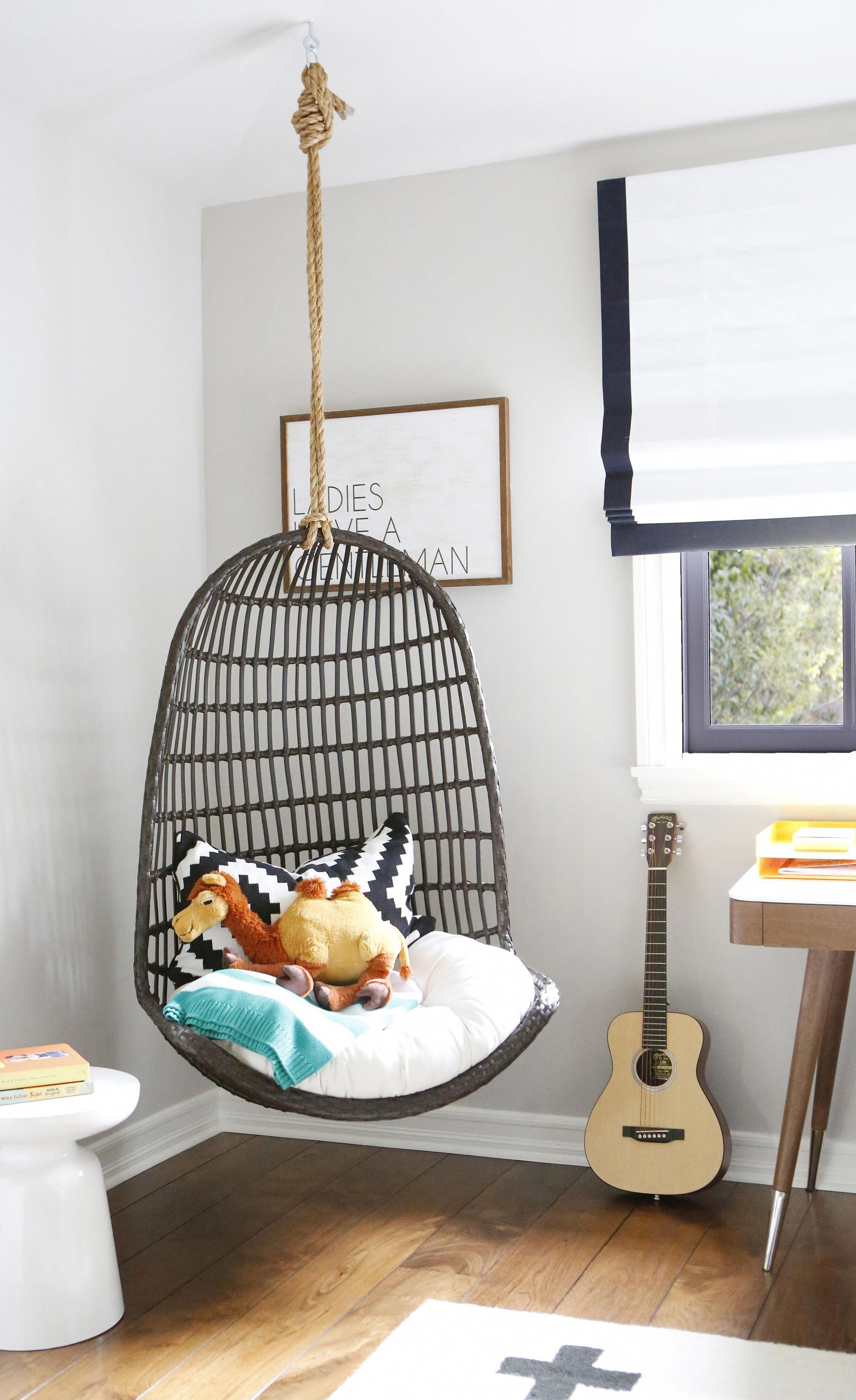 Project nursery modern eclectic big boy room with hanging chair kidshangingchair kids hanging chair