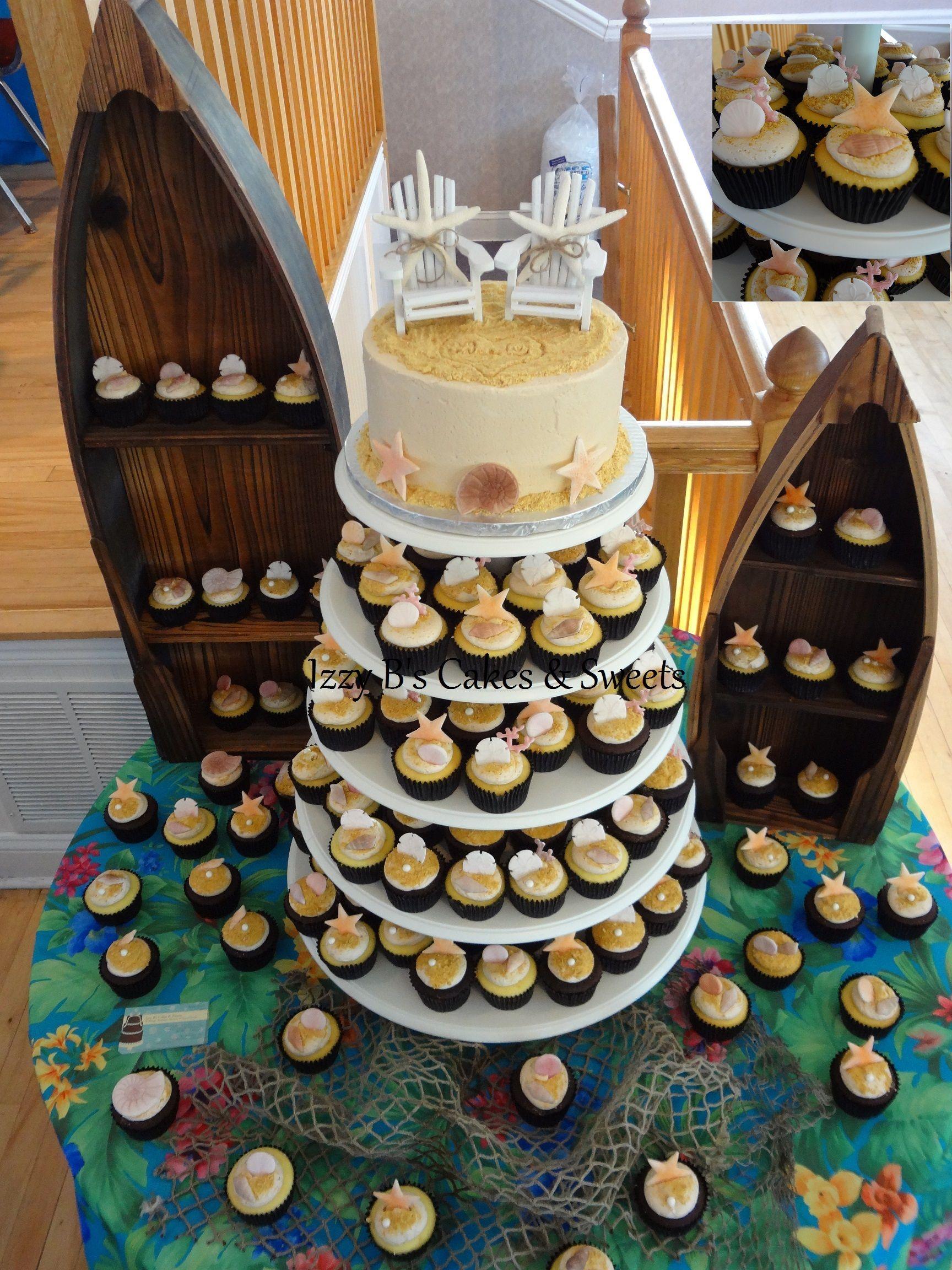 Beach Themed Wedding Cake And Cupcakes All Seashells Are Edible