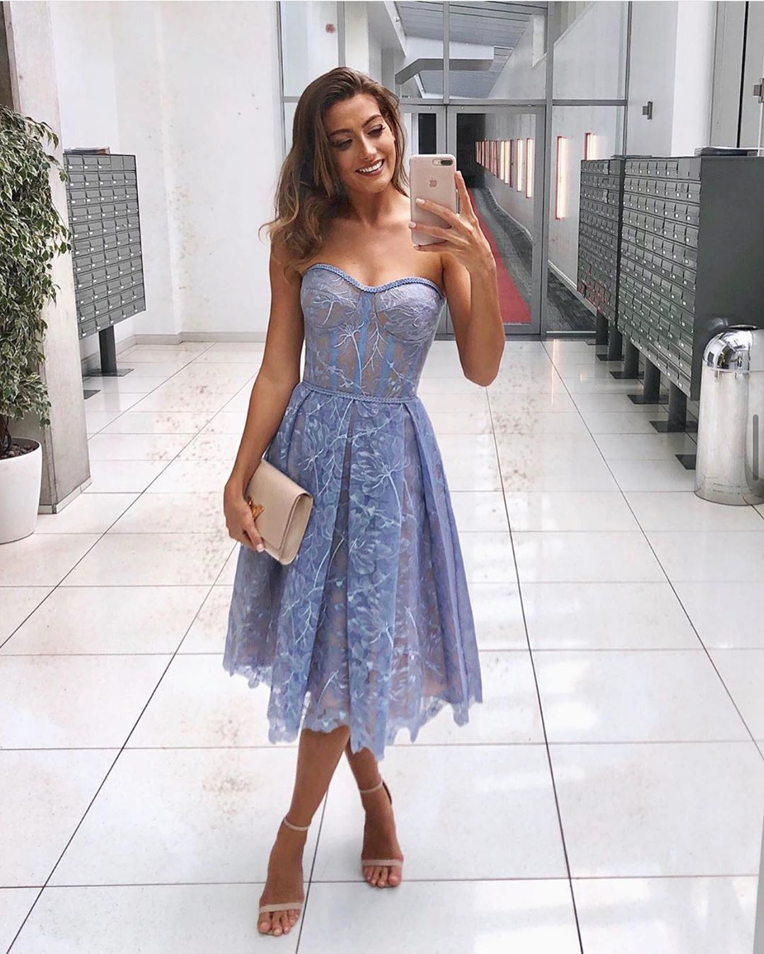 OLIVIA BLUE  Floral Embroidered Midi Dress  NADINE MERABI in 18 ...