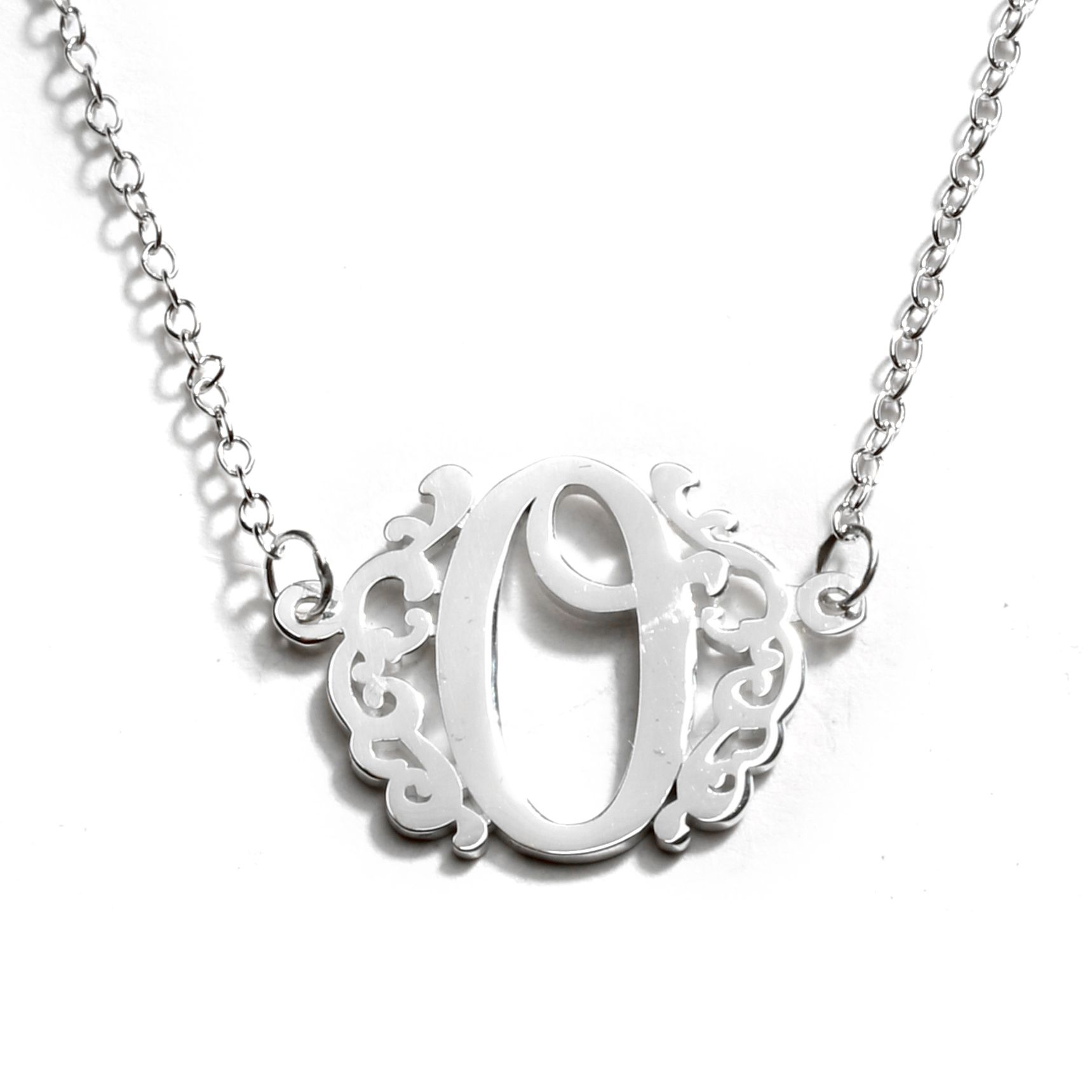 Sterling Single Monogram Necklace - Size
