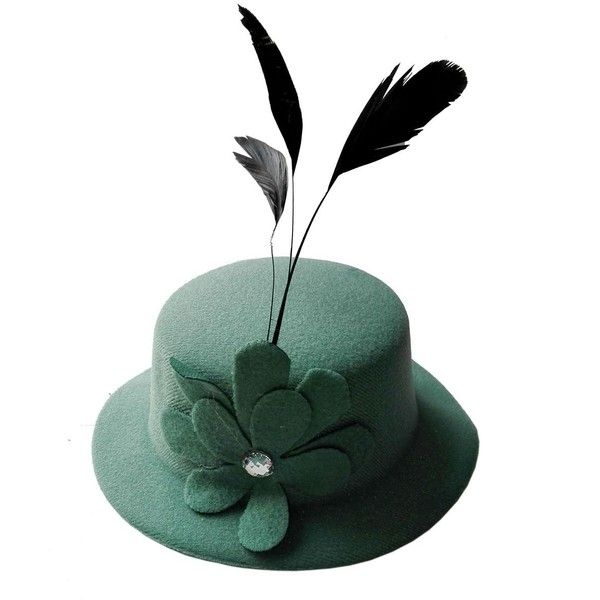 Coolwife Women's Fascinator Hat Hair Clip Flower Feather Burlesque... ($14) ❤ liked on Polyvore featuring accessories