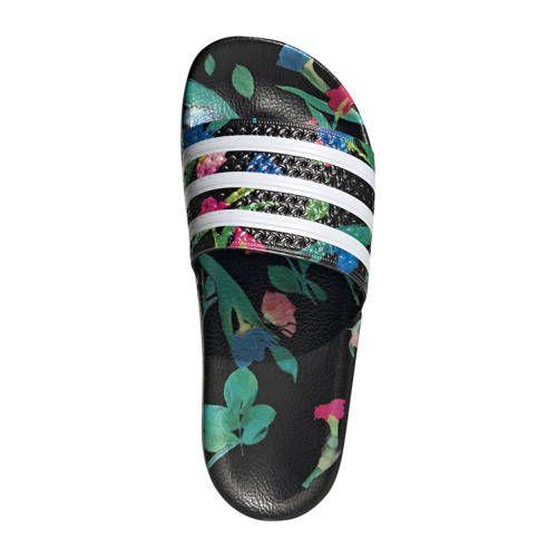 adidas Originals adilette w badslippers zwart/wit - Zwart ...