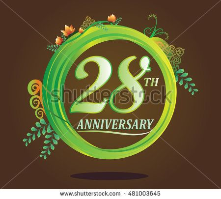 28th anniversary logo with floral ornament, flower and leaf