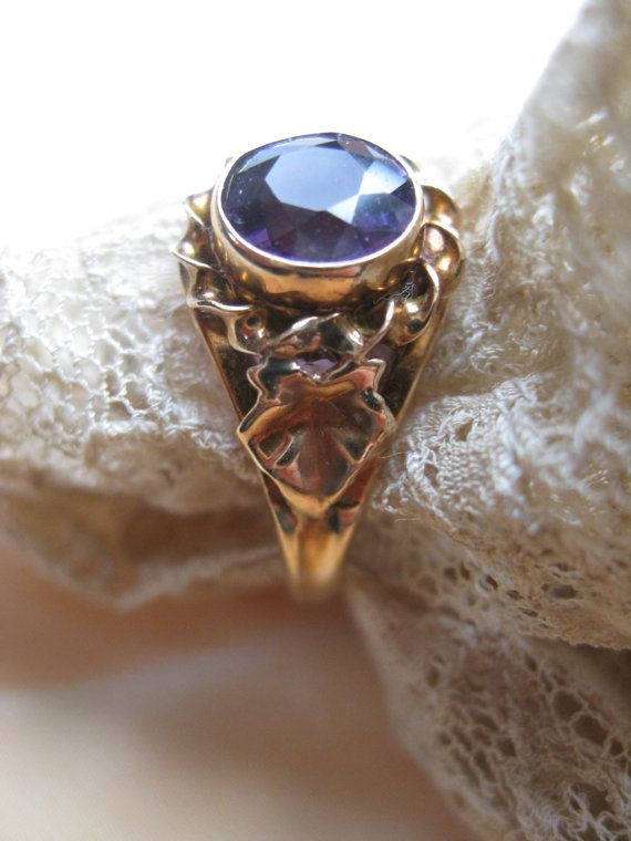 Victorian 14K Amethyst Ring February Birthstone by AndOnToWillow