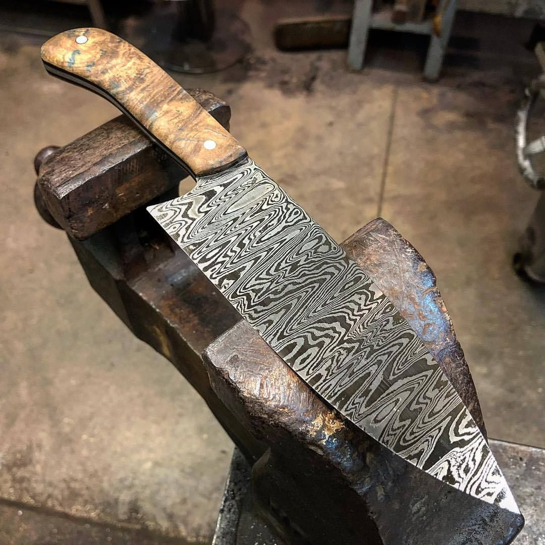Just Finished This 6 Chef And 7 Nikiri 80 Layer 15n20 And 1084 Damascus Steel With Matching Stabilized Maple Handles If Anyon Damascus Steel Steel Damascus