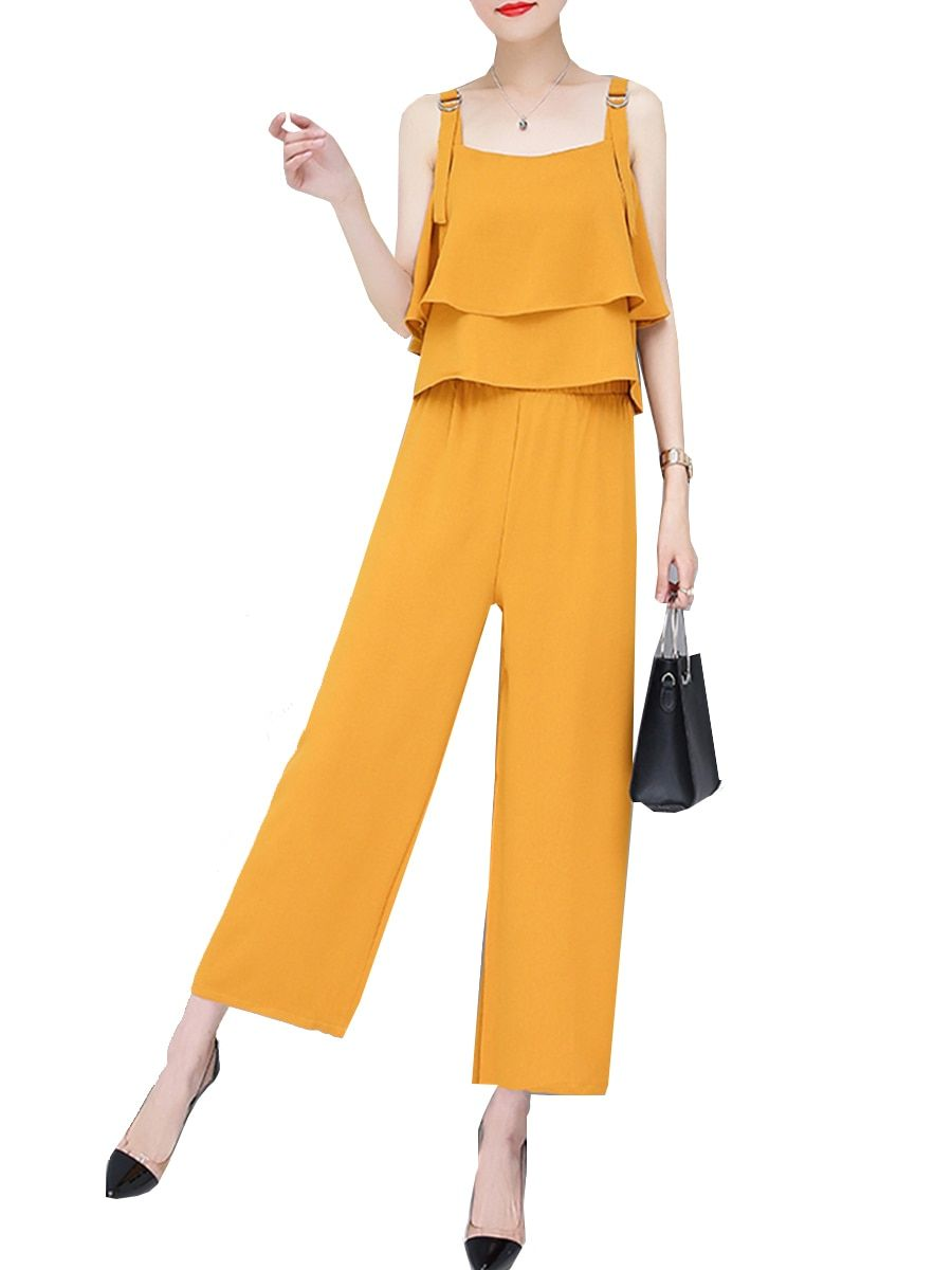 a98ebba7194a Buy Women s Jumpsuit Fashion Solid Color Ruffles Adjustable Straps Elegant  Wide Leg Jumpsuit   Jumpsuits - at Jolly Chic