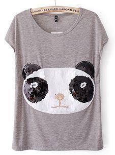 camiseta feminina cinza panda lantejoulas   Para Luiza em 2019 ... da0eb423eb