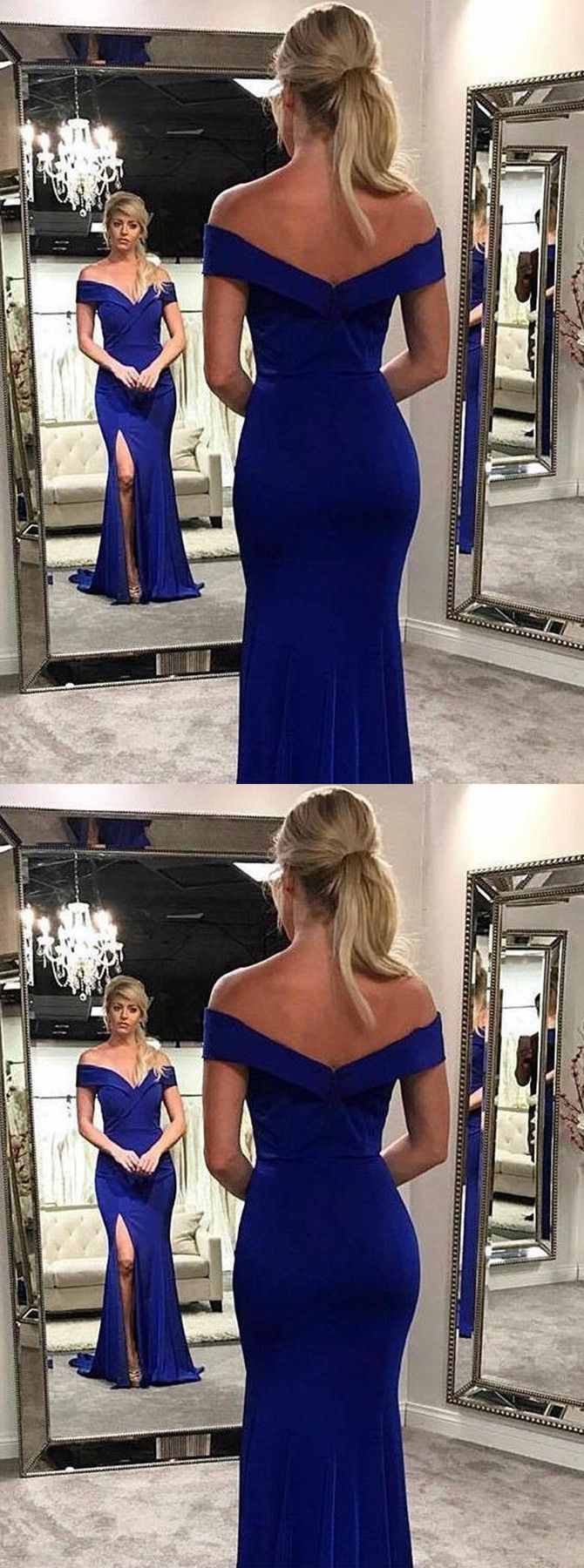 Mermaid offtheshoulder royal blue elastic satin prom dress with