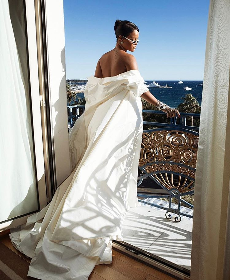 Rihanna in White Dior Gown at the Cannes Film Festival ...