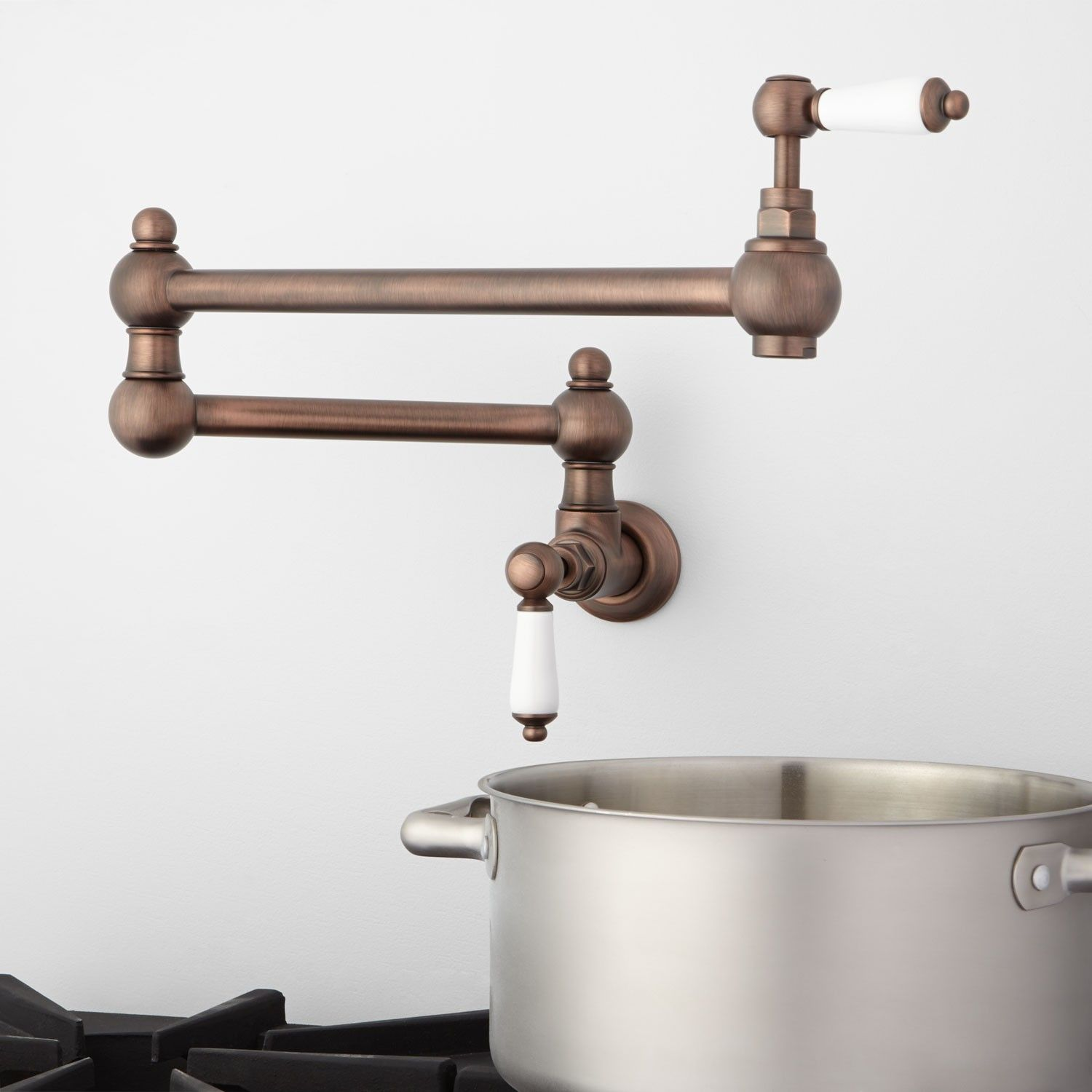 Fatsani Retractable Wall Mount Pot Filler With Porcelain Lever Handles Wall Mount Kitchen Faucet Pot Filler Bronze Kitchen Faucet