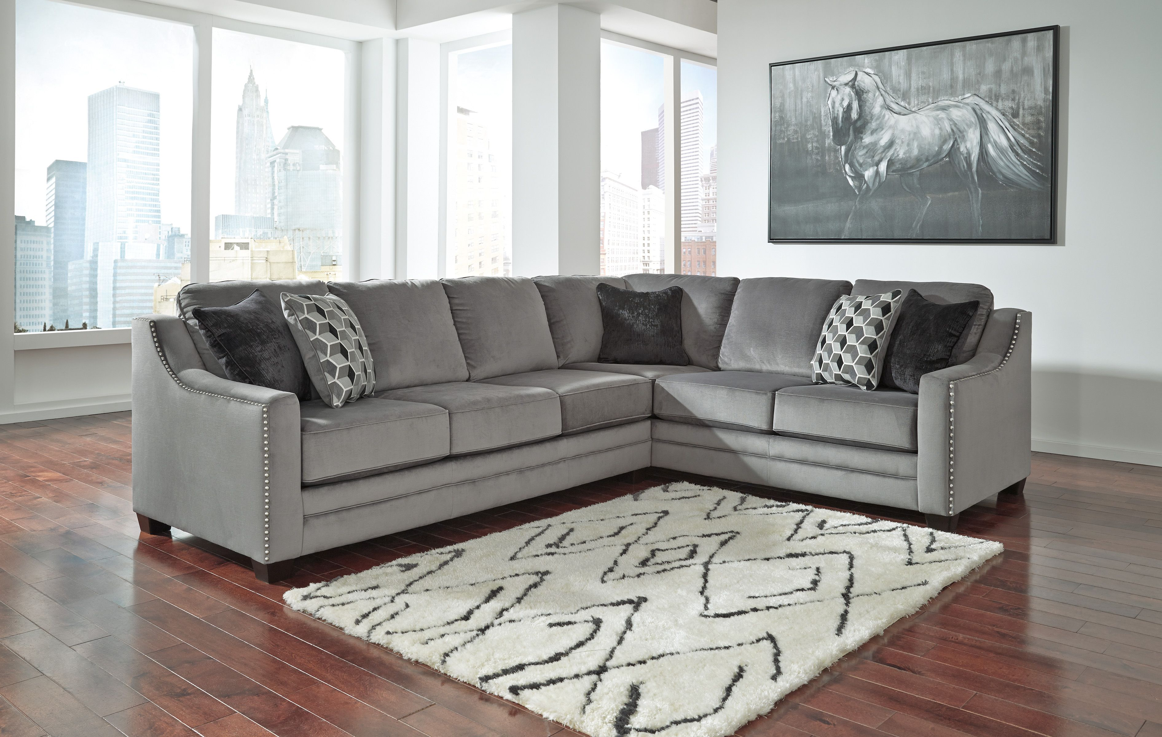 Bicknell 86204 49 Sectional Sofa By Ashley Match Cut Durable Fabrics Contemporary Charcoal Color