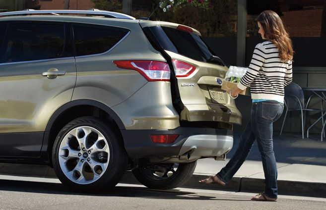 Love the Ford Escape's foot-activated liftgate -- just kick your foot under bumper to open the power liftgate when your hands are full.
