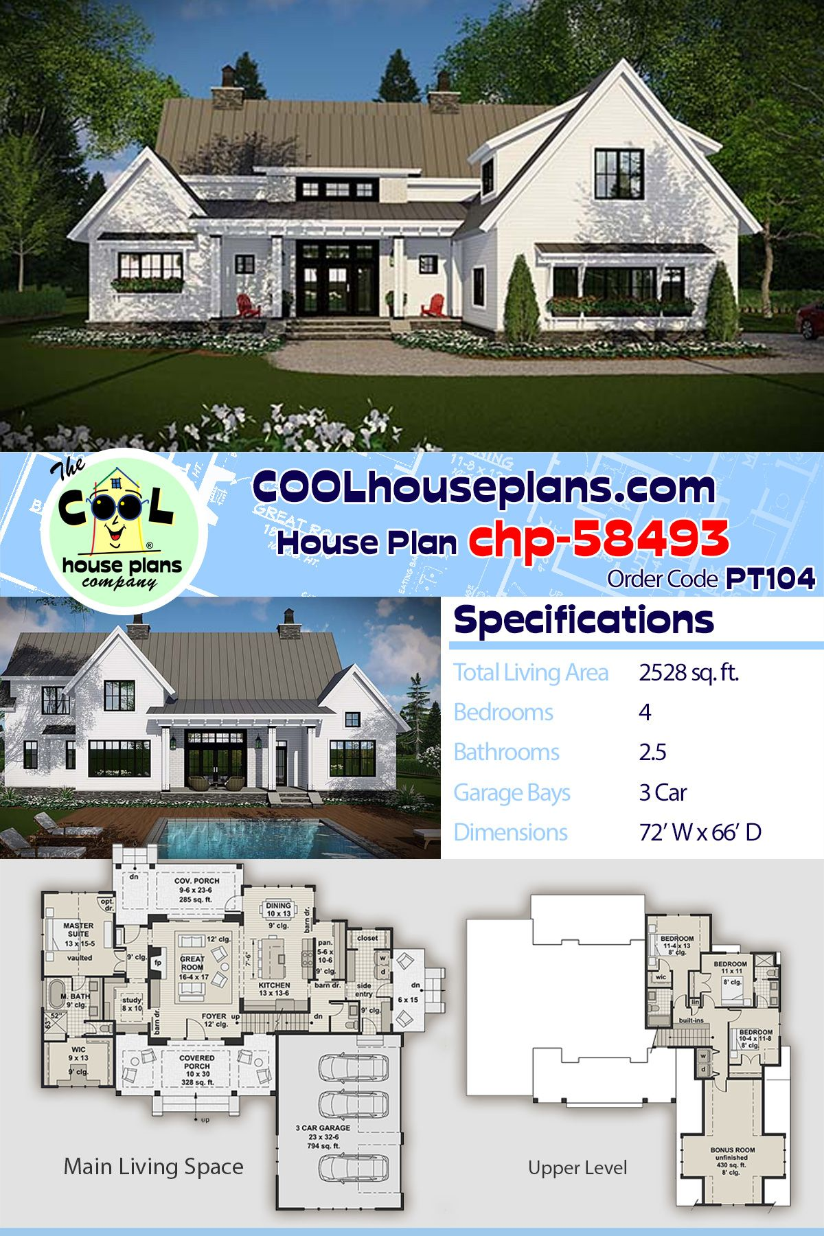 House Plan Chp 58493 With Images House Plans Farmhouse House Plans Best House Plans