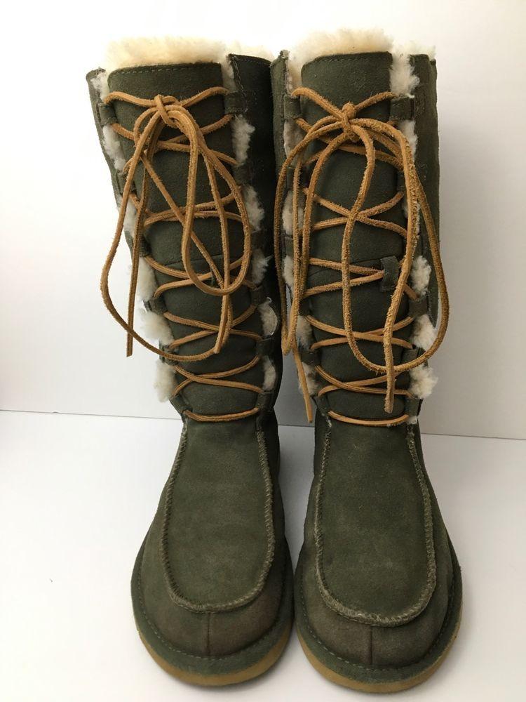 c87817de742 UGG Women's Tall Boots Appalachin Olive Green Suede Sheepskin Lace ...