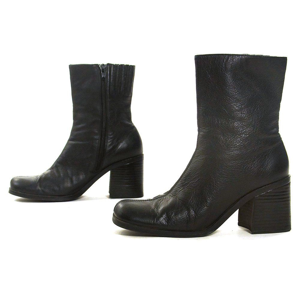 2bbbdfde4cbaa High Top Ankle Boots Vintage 90s Black Leather Zip Up Booties with ...