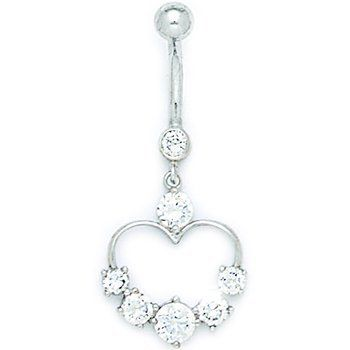 Solid 14k White Gold Cubic Zirconia Classy Heart Belly Ring Body